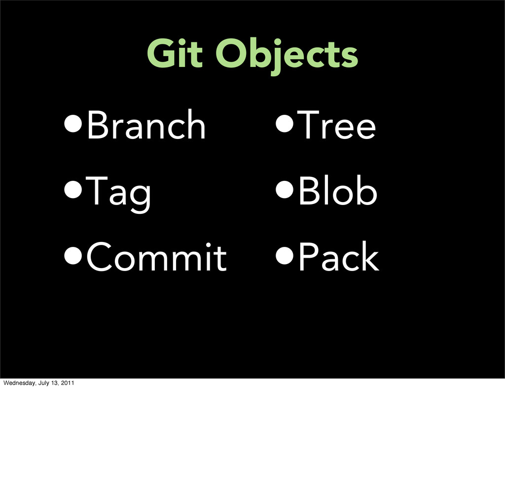 Git Objects •Branch •Tag •Commit •Tree •Blob •P...
