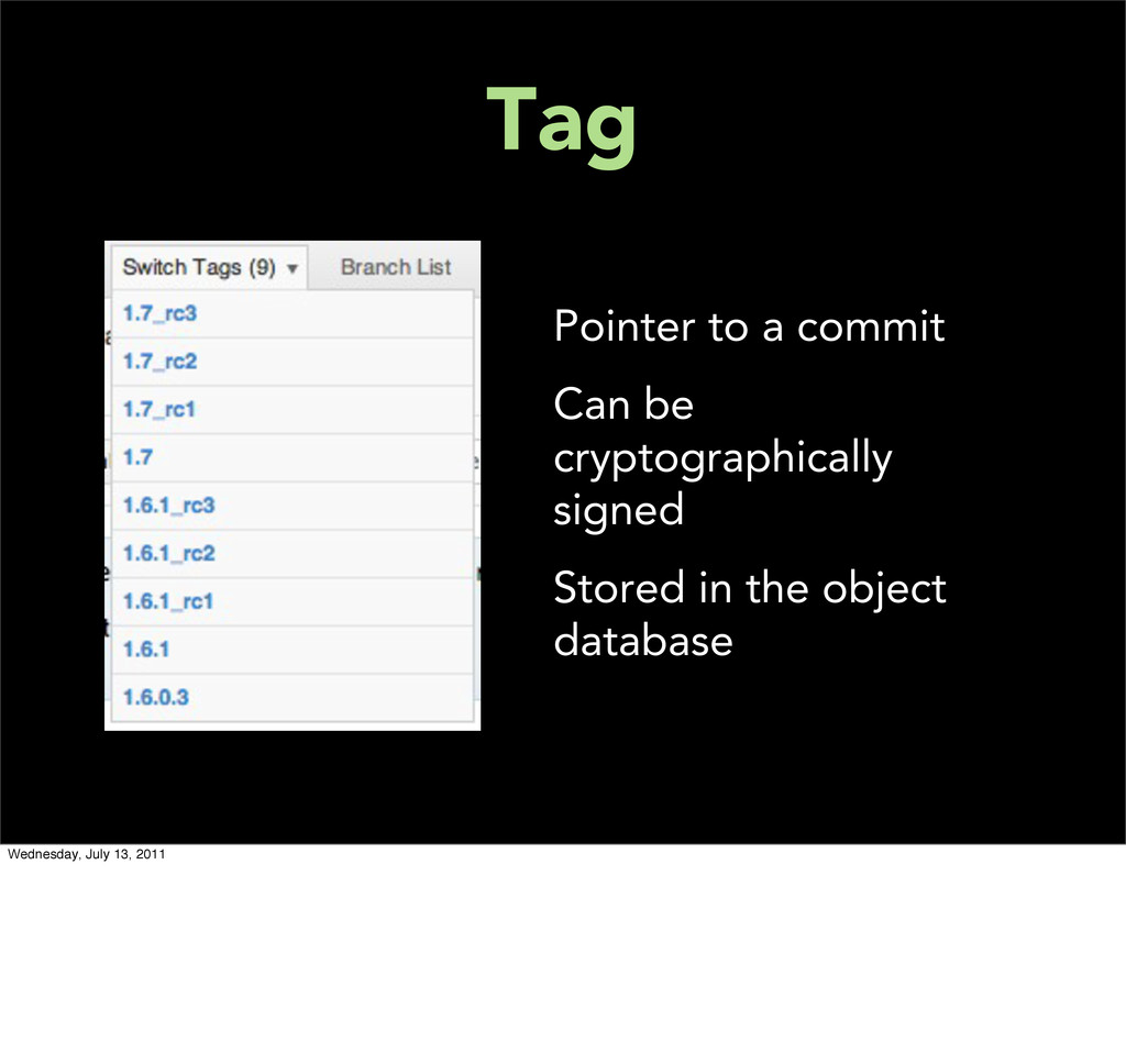 Tag Pointer to a commit Can be cryptographicall...