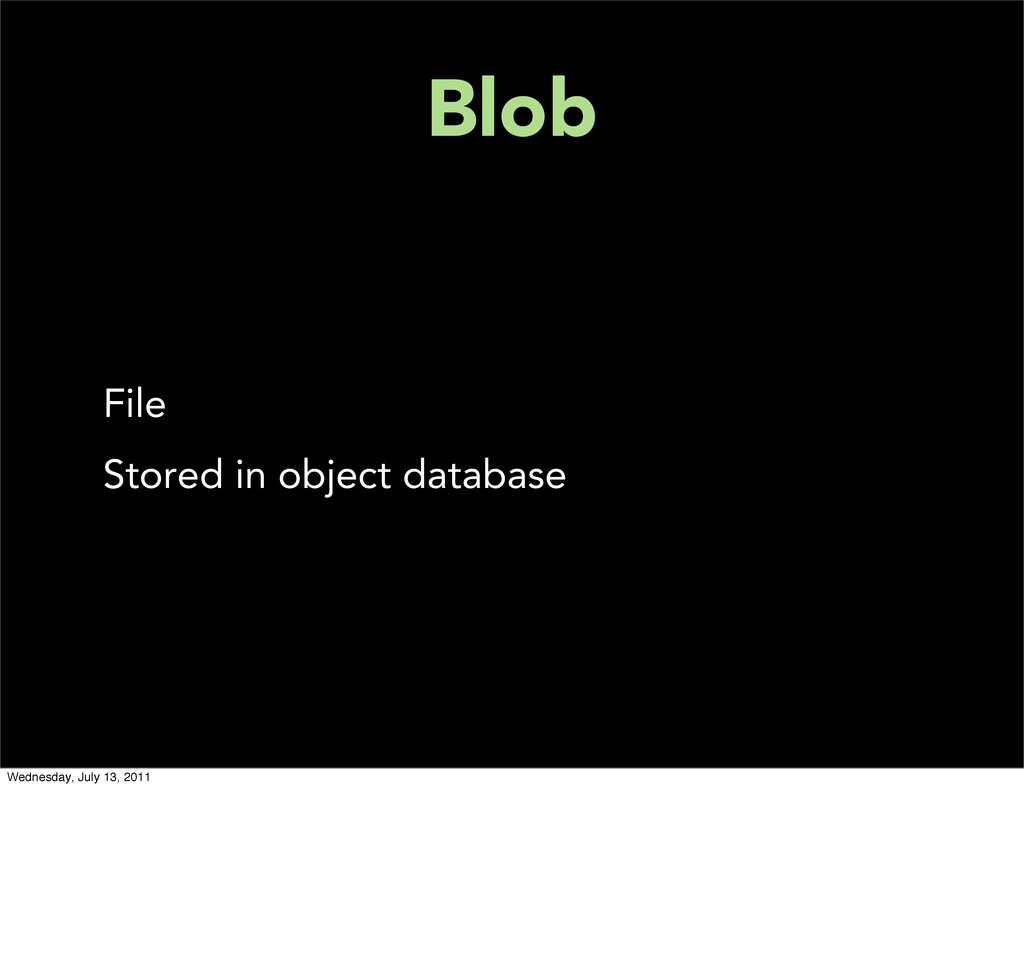 Blob File Stored in object database Wednesday, ...