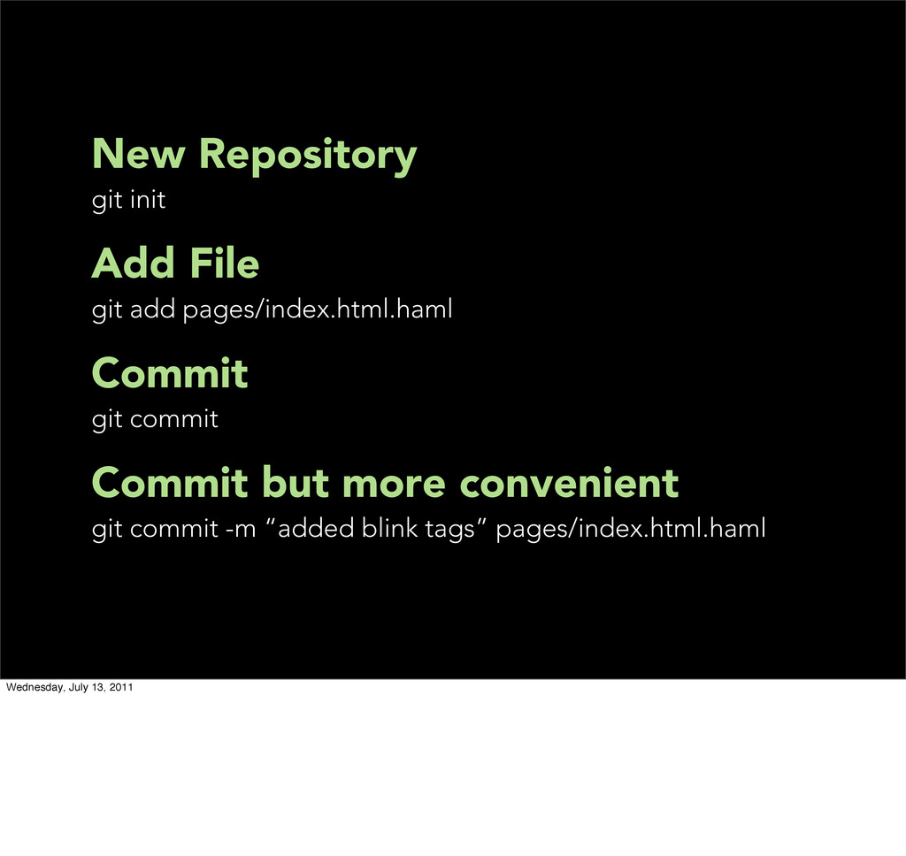 New Repository git init Add File git add pages/...
