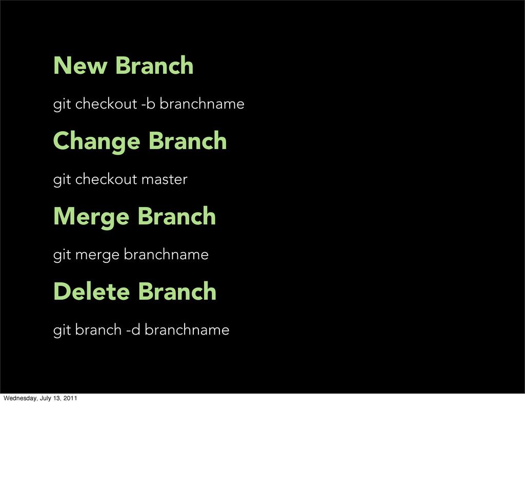 New Branch git checkout -b branchname Change Br...