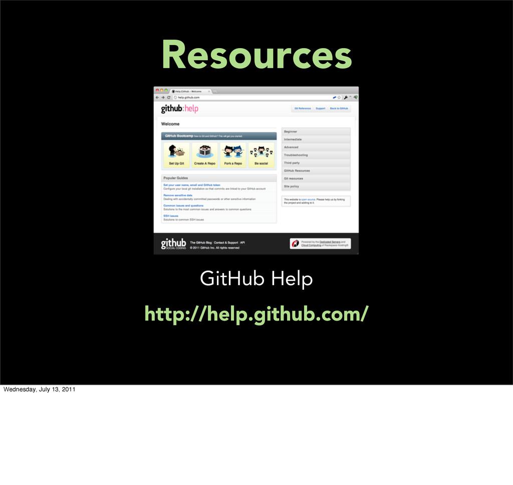Resources GitHub Help http://help.github.com/ W...