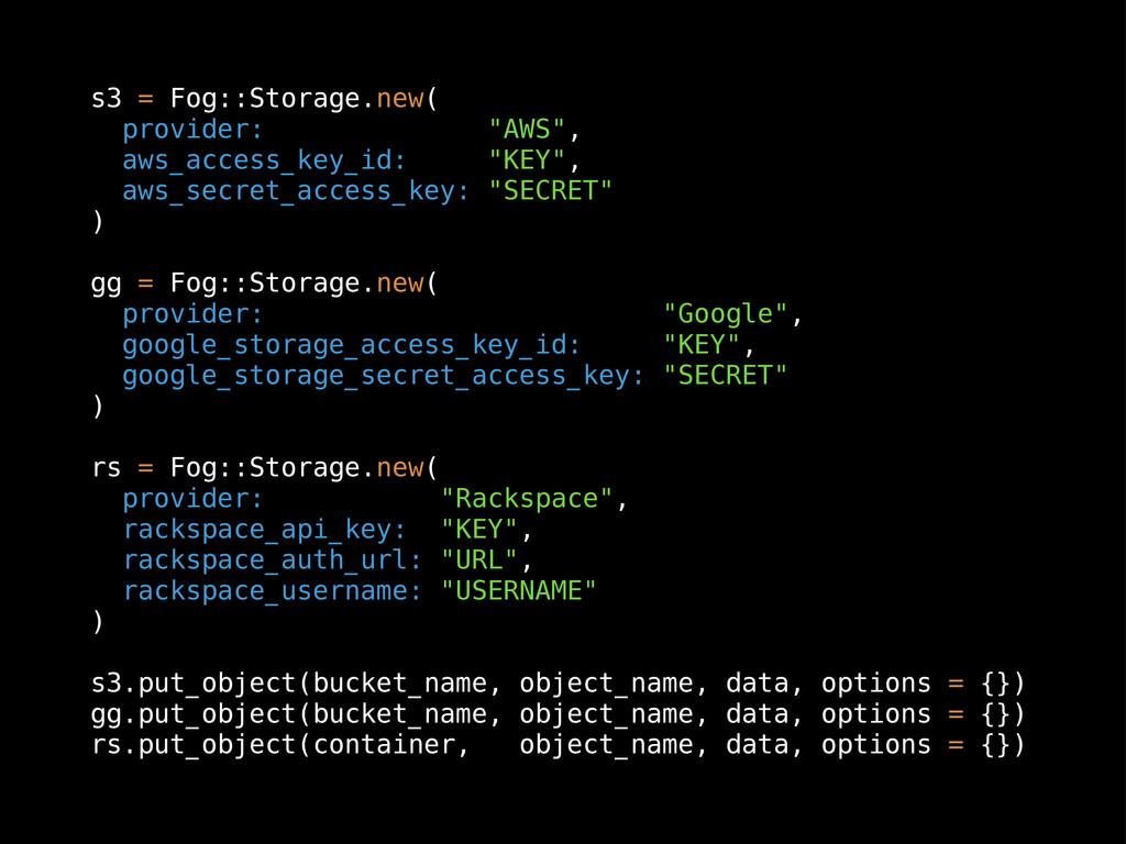 "s3 = Fog::Storage.new( provider: ""AWS"", aws_acc..."