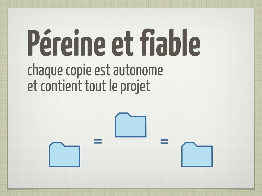Péreine et fiable chaque copie est autonome et ...