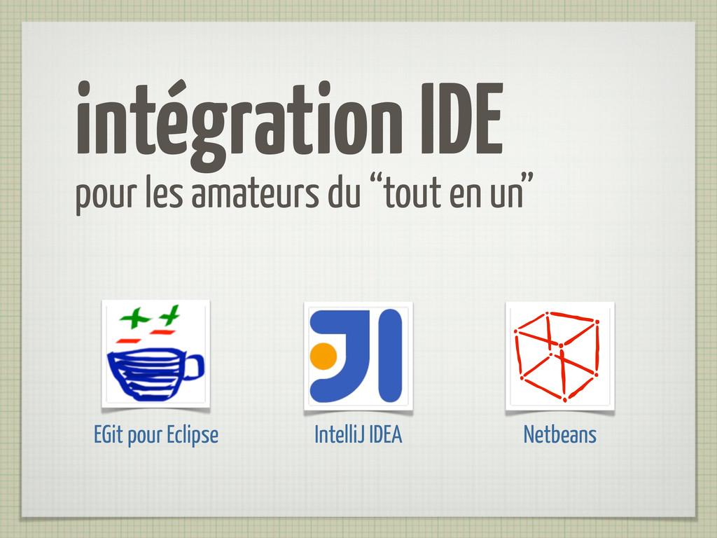 """intégration IDE pour les amateurs du """"tout en u..."""