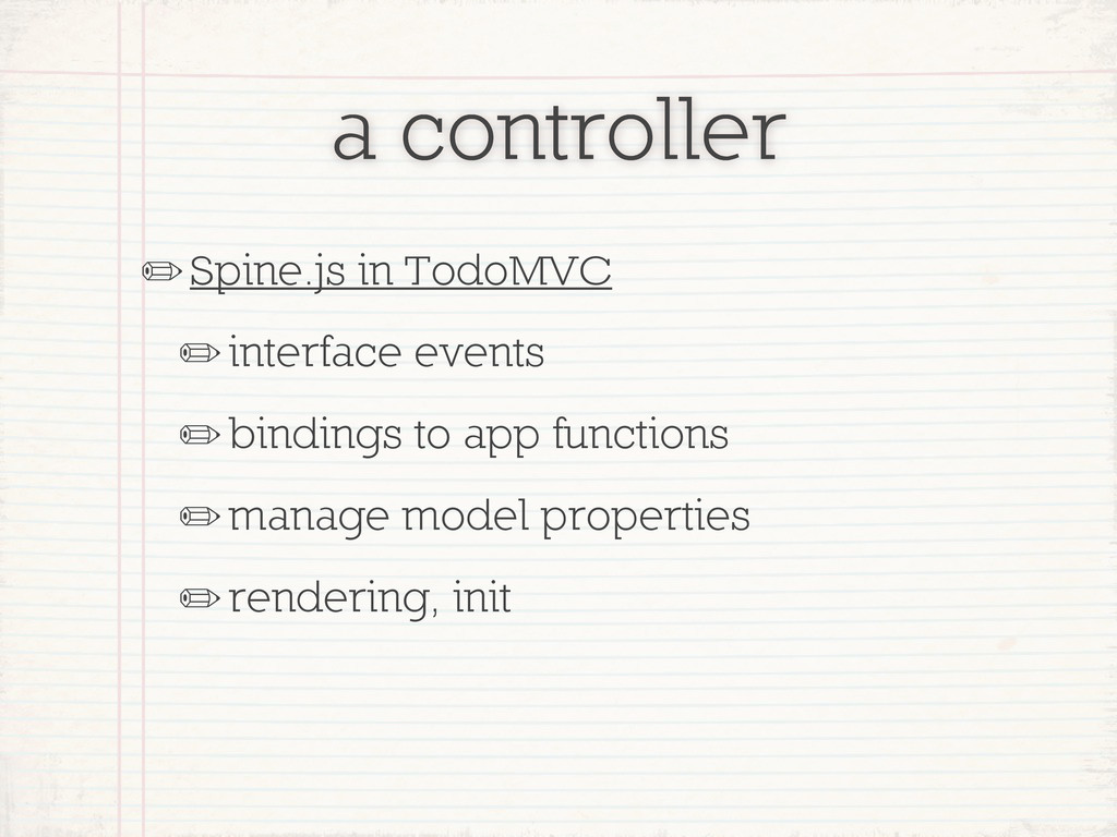 a controller ✏Spine.js in TodoMVC ✏interface ev...