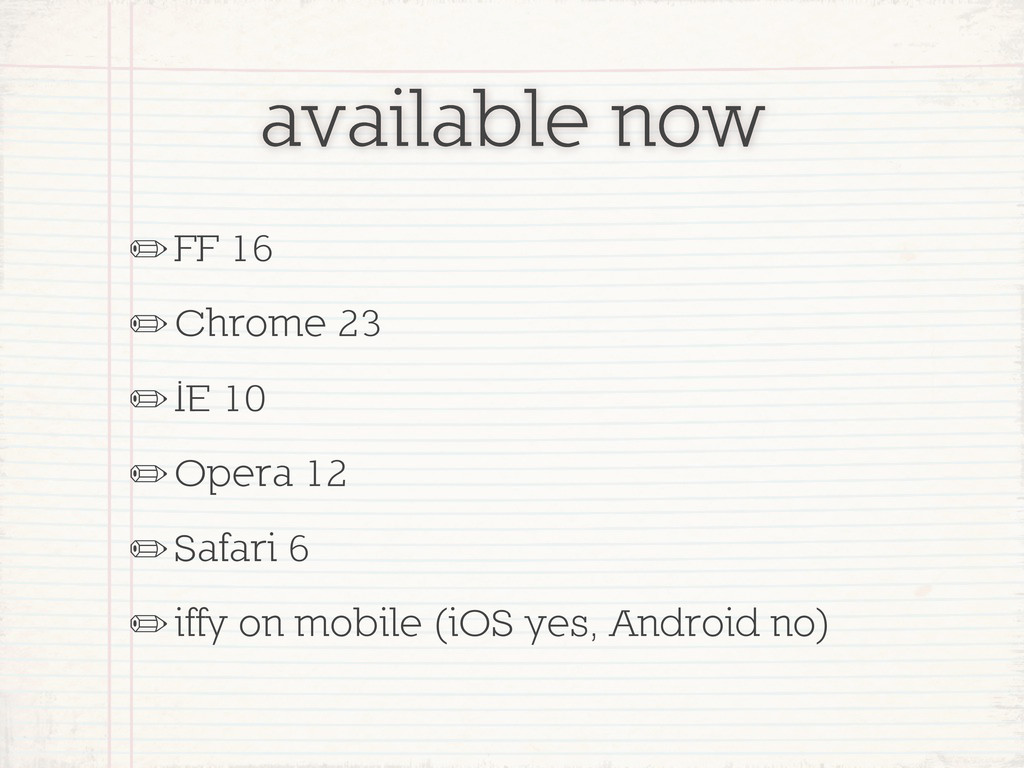 available now ✏FF 16 ✏Chrome 23 ✏IE 10 ✏Opera 1...