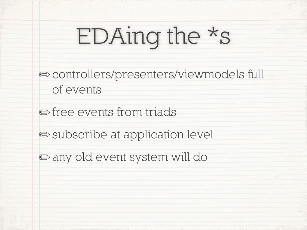 EDAing the *s ✏controllers/presenters/viewmodel...