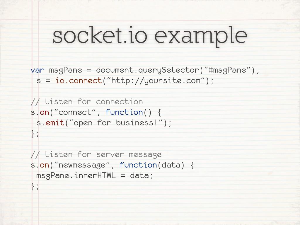 socket.io example var msgPane = document.queryS...
