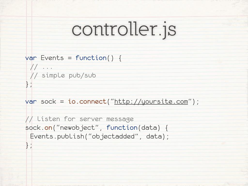 controller.js var Events = function() { // ... ...