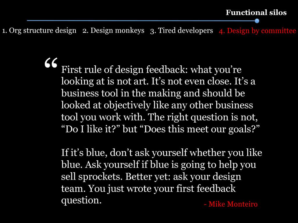 2. Design monkeys Functional silos 1. Org struc...