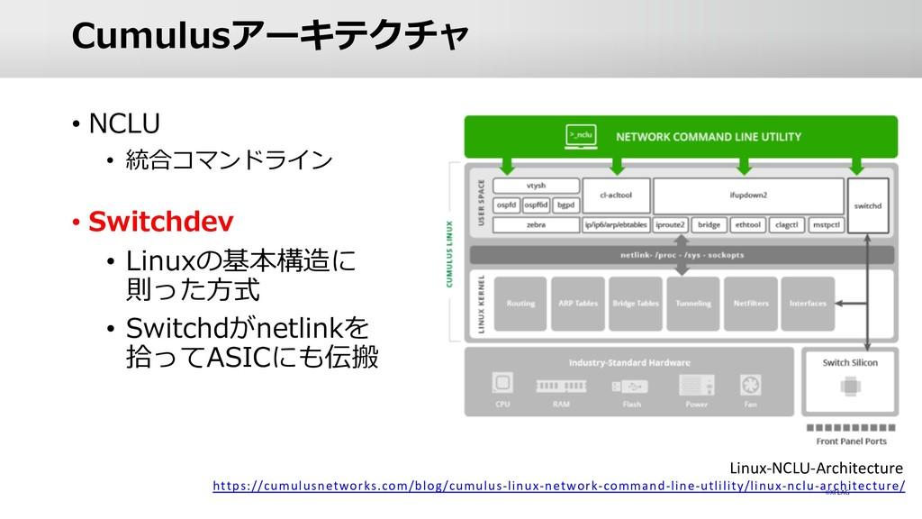 Cumulusアーキテクチャ • NCLU • 統合コマンドライン • Switchdev •...