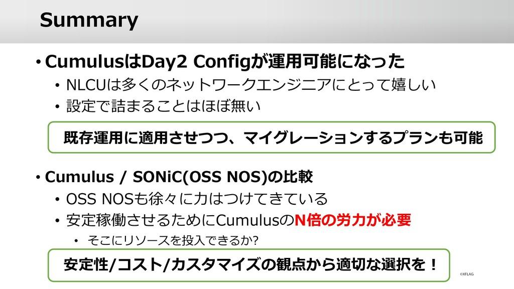 • CumulusはDay2 Configが運⽤可能になった • NLCUは多くのネットワーク...