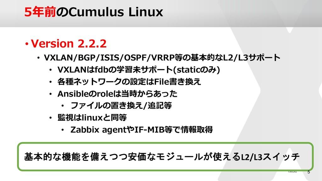 5年前のCumulus Linux • Version 2.2.2 • VXLAN/BGP/I...