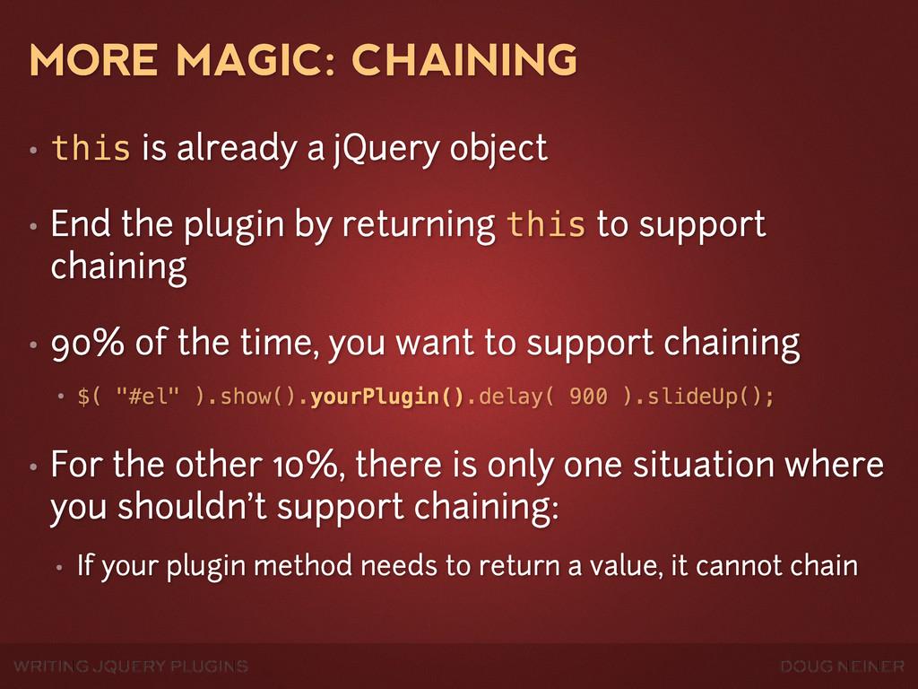 WRITING JQUERY PLUGINS DOUG NEINER MORE MAGIC: ...