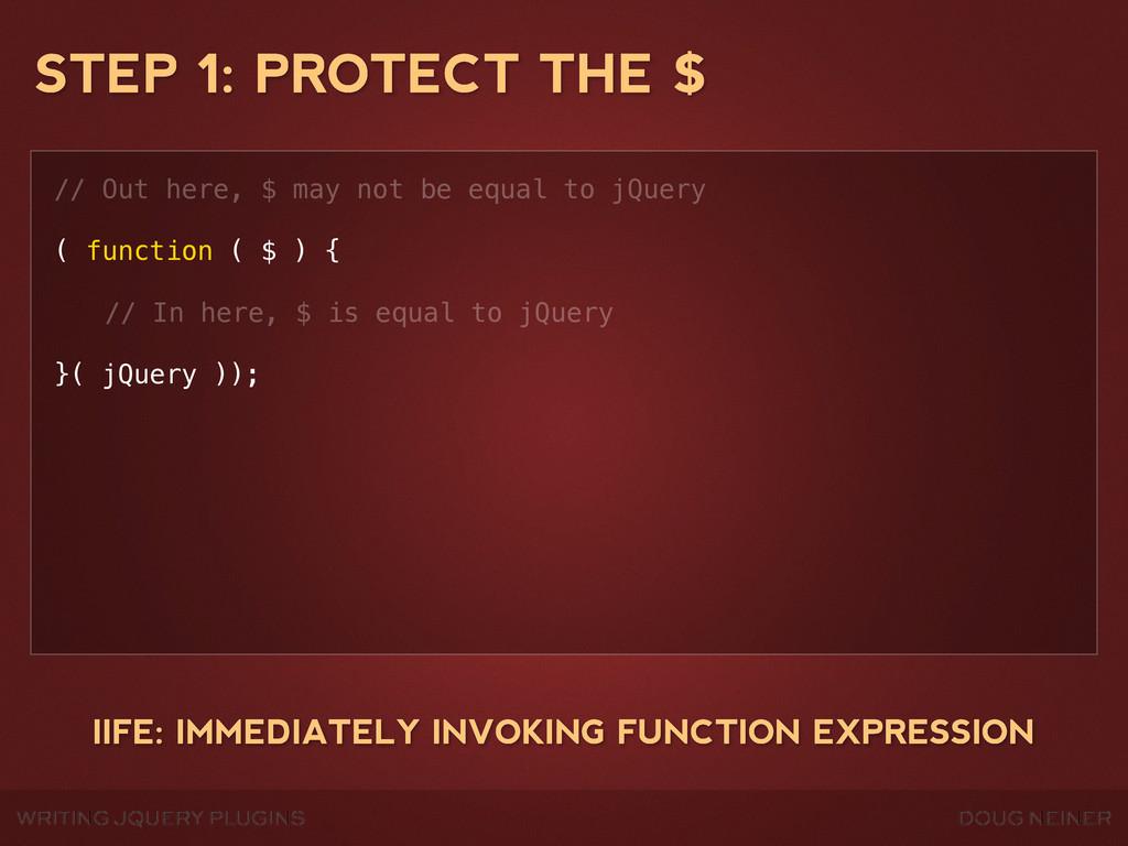 WRITING JQUERY PLUGINS DOUG NEINER STEP 1: PROT...