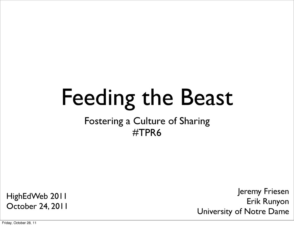 Feeding the Beast Fostering a Culture of Sharin...