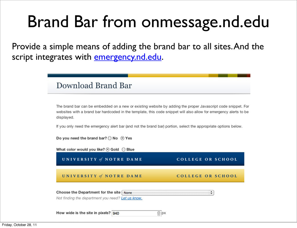 Brand Bar from onmessage.nd.edu Provide a simpl...