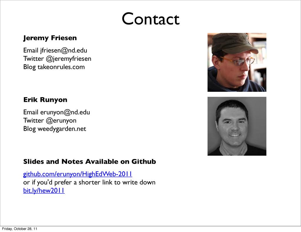 Contact Jeremy Friesen Email jfriesen@nd.edu Tw...