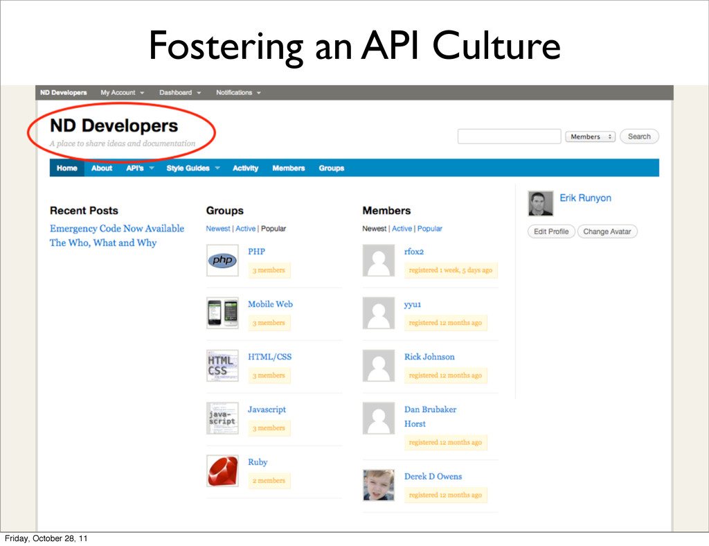Fostering an API Culture Friday, October 28, 11