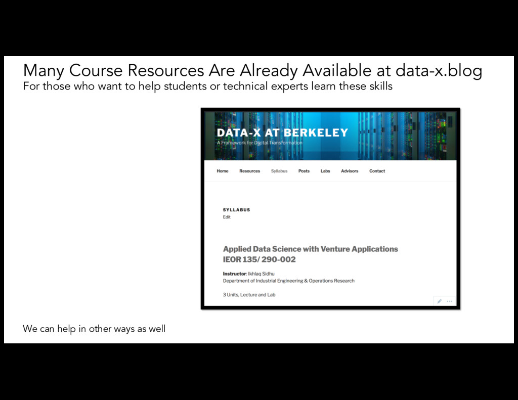 Many Course Resources Are Already Available at ...