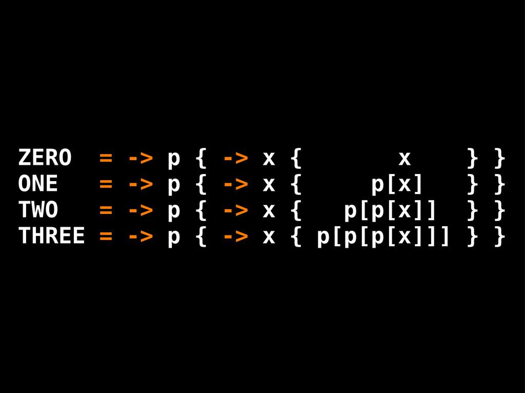 ZERO = -> p { -> x { x } } ONE = -> p { -> x { ...