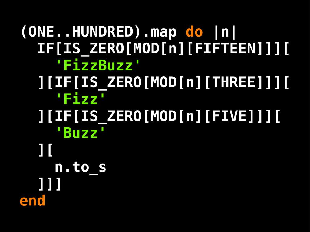 ( .. ) IF[IS_ZERO[MOD[n][FIFTEEN]]][ 'FizzBuzz'...