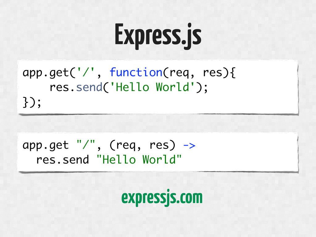 Express.js app.get('/', function(req, res){ res...
