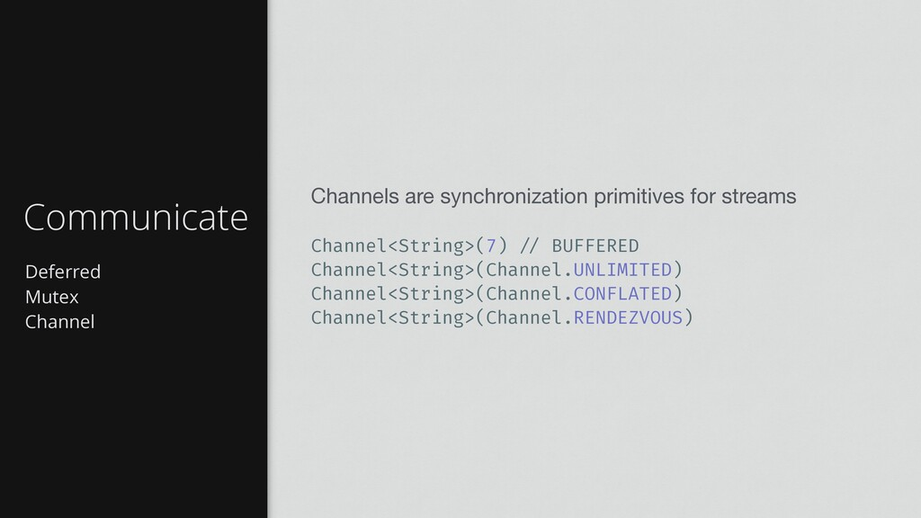 Deferred Mutex Channel Communicate Channels are...