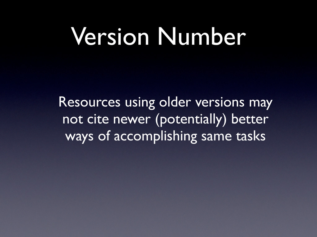 Version Number Resources using older versions m...