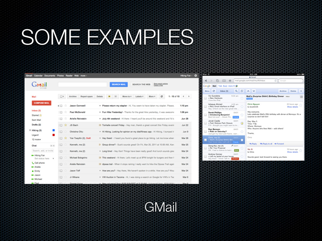 SOME EXAMPLES GMail