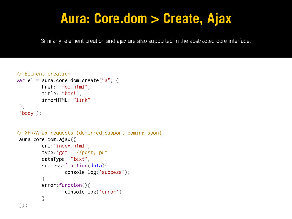 Similarly, element creation and ajax are also s...