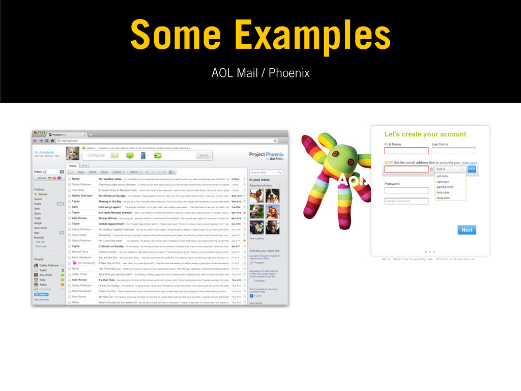 AOL Mail / Phoenix Some Examples