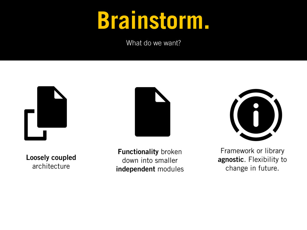 What do we want? Brainstorm. Loosely coupled ar...