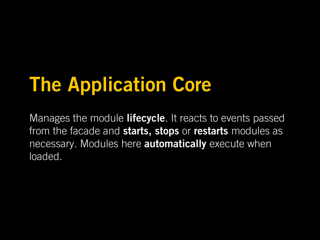 The Application Core Manages the module lifecyc...