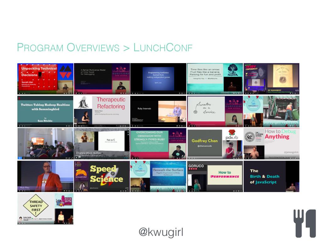 @kwugirl PROGRAM OVERVIEWS > LUNCHCONF