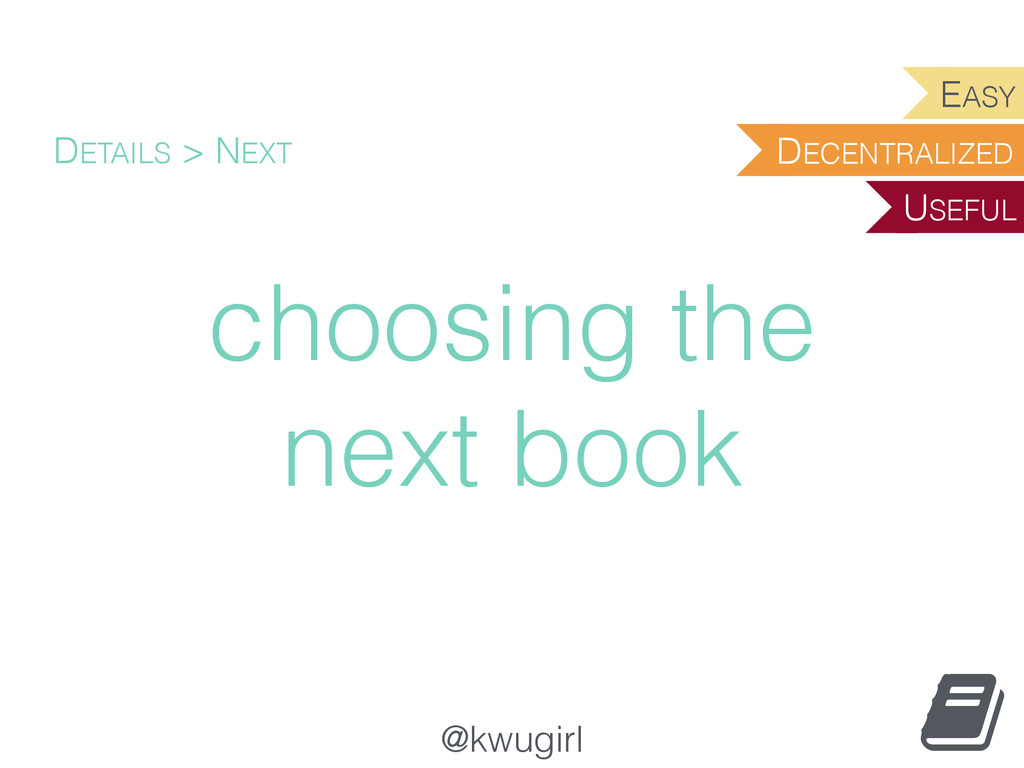 @kwugirl choosing the next book DETAILS > NEXT ...
