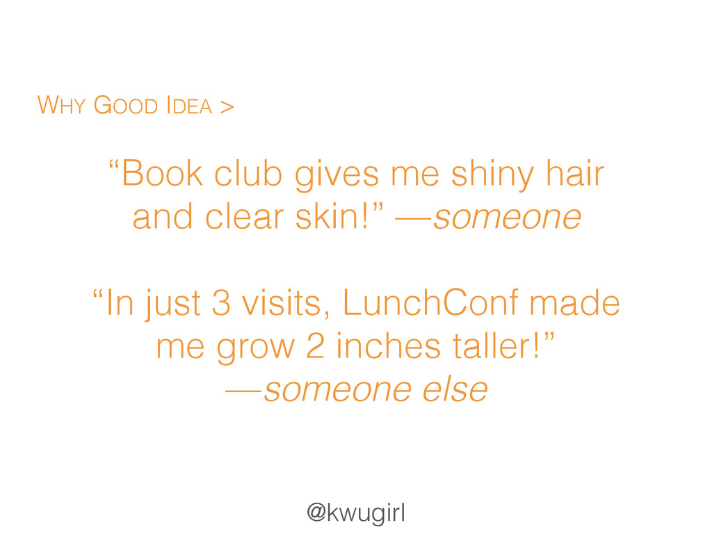 """@kwugirl """"Book club gives me shiny hair and cle..."""
