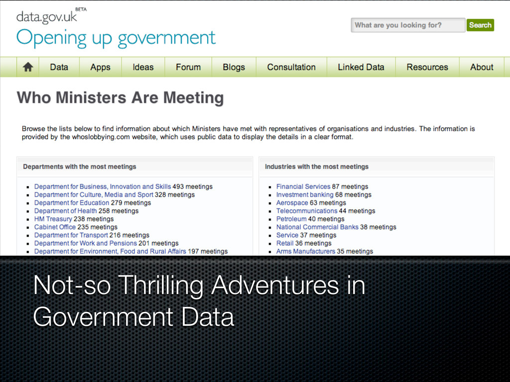 Not-so Thrilling Adventures in Government Data