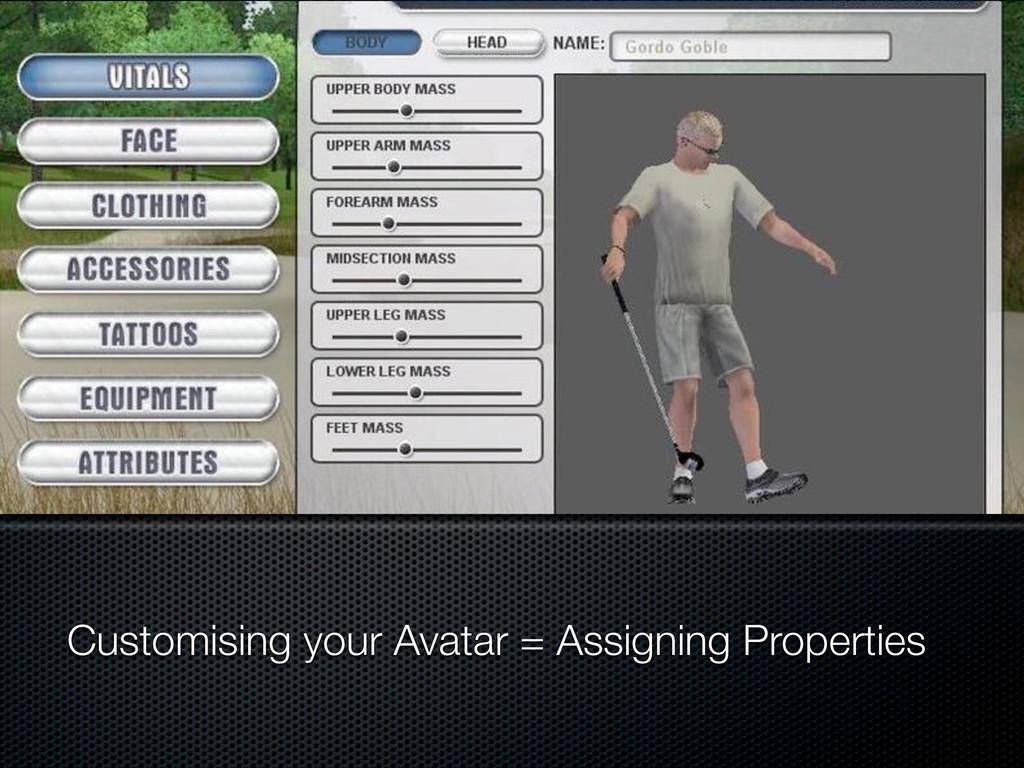 Customising your Avatar = Assigning Properties
