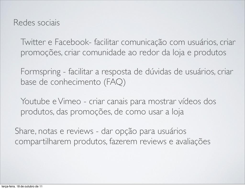 Redes sociais Twitter e Facebook- facilitar com...
