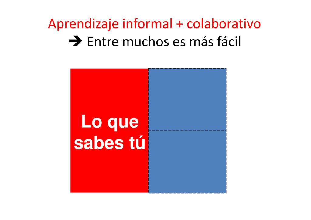Lo que sabes tú Aprendizaje informal + colabora...