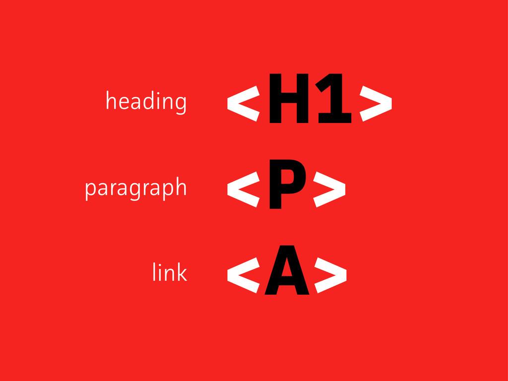 <H1> <P> <A> heading paagaph link