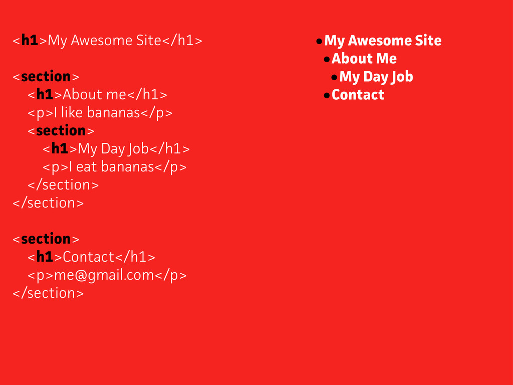 <h1>My Awesome Site</h1> <section> <h1>About me...