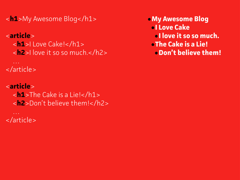 <h1>My Awesome Blog</h1> <aticle> <h1>I Love C...