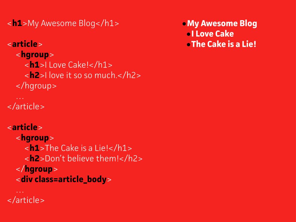 <h1>My Awesome Blog</h1> <aticle> <hgroup> <h1...