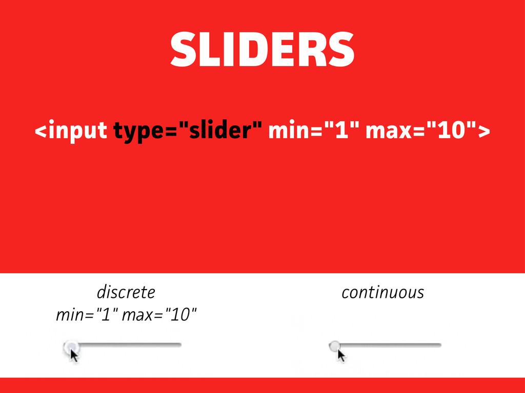 "<input type=""slider"" min=""1"" max=""10""> SLIDERS ..."