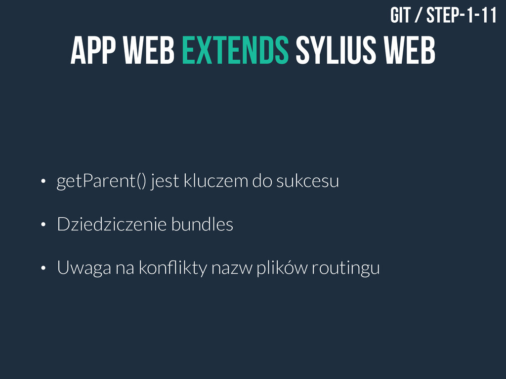 App Web EXTENDS SYLIUS WEB • getParent() jest k...