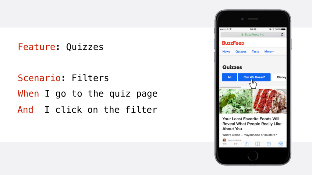 Feature: Quizzes Scenario: Filters When I go to...