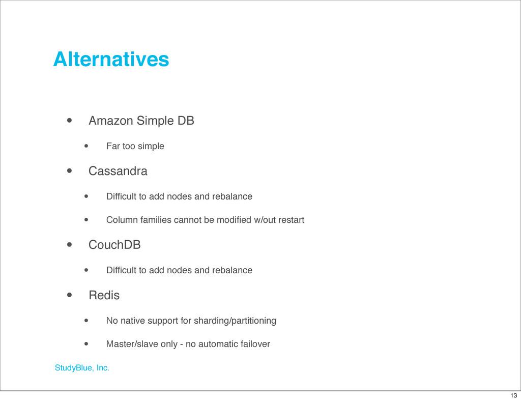 StudyBlue, Inc. Alternatives • Amazon Simple DB...